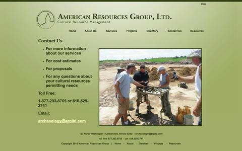 Screenshot of Contact Page argltd.com - Contact Us | American Resources Group, LTD. - captured Oct. 4, 2014