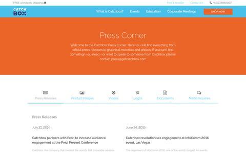 Screenshot of Press Page getcatchbox.com - Press | Catchbox - captured Nov. 28, 2016