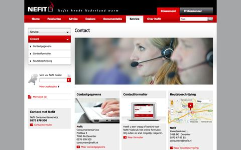 Screenshot of Contact Page nefit.nl - Contact - nefit.nl - captured Oct. 26, 2014