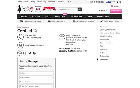 Screenshot of Contact Page ladyvlondon.com - Lady V London : Vintage Style Dresses and Petticoats - captured Oct. 31, 2014