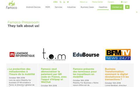 Screenshot of Press Page famoco.com - Pressroom | Headlines | Famoco | ENG - captured Nov. 4, 2018
