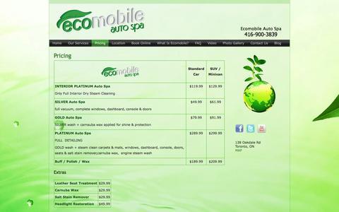 Screenshot of Pricing Page ecomobileautospa.com - Pricing | Ecomobile Auto Spa - captured May 20, 2016