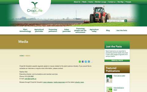 Screenshot of Press Page croplife.ca - Media - CropLife Canada - captured Oct. 3, 2014