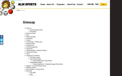 Screenshot of Site Map Page almsports.com - Sitemap | ALM Sports - captured Dec. 9, 2015
