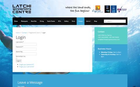 Screenshot of Login Page latchiwatersportscentre.com - Latchi Watersports Centre - Login - captured May 23, 2016