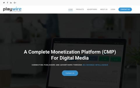 Screenshot of Home Page playwire.com - Playwire CMP – A Complete Monetization Platform (CMP) for Digital Media - captured Feb. 22, 2018