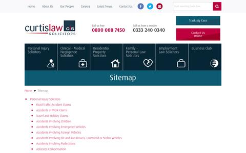 Screenshot of Site Map Page curtislaw.co.uk - Sitemap Services Provided By Curtis Law Solicitors - captured Feb. 2, 2016