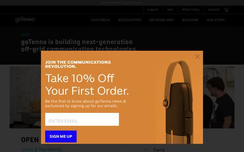 Screenshot of Jobs Page gotenna.com - goTenna Jobs - captured June 2, 2018