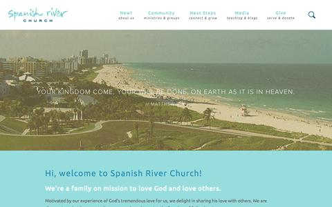 Screenshot of Home Page spanishriver.com - Spanish River Church - captured Oct. 9, 2015