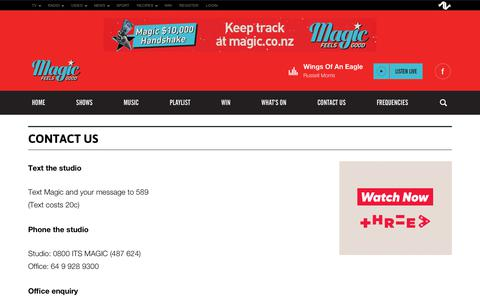 Screenshot of Contact Page magic.co.nz - Magic - Feels Good | NZ's Newest Radio Station - captured Oct. 25, 2018