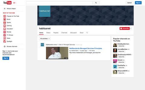 Screenshot of YouTube Page youtube.com - habitusnet  - YouTube - captured Oct. 22, 2014