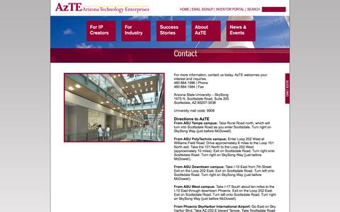 Screenshot of Contact Page azte.com - Contact - captured Oct. 4, 2014