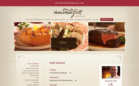 Screenshot of Menu Page mussoandfrank.com - Daily Features | Musso and Frank Grill - captured June 6, 2016