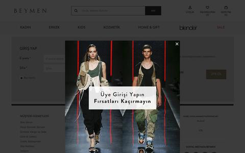 Screenshot of Login Page beymen.com - Beymen.com – The Fashion Destination Online - captured June 2, 2019