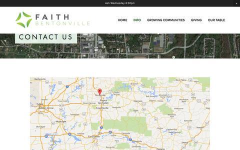 Screenshot of Contact Page faithbentonville.com - Contact Us — Faith Bentonville - captured Feb. 9, 2016
