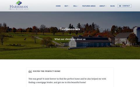 Screenshot of Testimonials Page harrimanre.com - Testimonials - HarrimanRE.com - captured Sept. 27, 2018