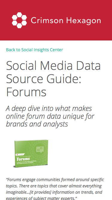Social Media Data Source Guide: Forums