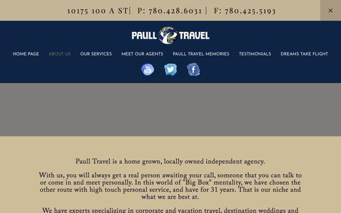 Screenshot of About Page paulltravel.com - ABOUT US — PAULL TRAVEL - captured July 16, 2018