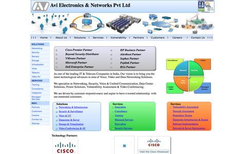 Screenshot of Home Page avielectronic.com - :: Avi Electronics : Cisco Premier Partner : Dell Partner : VMware Partner : Beyond Security : Pune : India : Suppliers : Alertboot : Radvision : Saas : Services : Datacenter : Reseller : Supplier : Storage : EMC : Brocade - captured Oct. 9, 2017