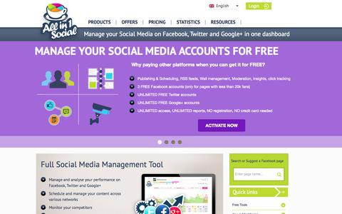 Screenshot of Home Page allin1social.com - Social Media Management Tool - captured Sept. 19, 2014