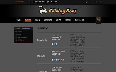 Screenshot of Locations Page thegaminggoat.com - Locations - captured Feb. 15, 2016