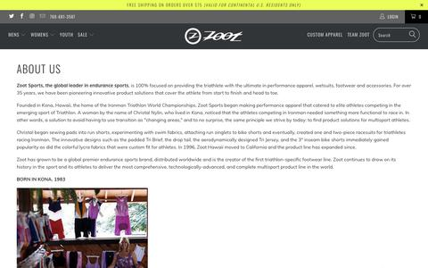 Screenshot of About Page zootsports.com - About Zoot Sports - captured Sept. 13, 2019