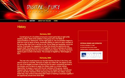 Screenshot of About Page digitalfurytech.com - History < Digital Fury Technologies - captured Oct. 5, 2014