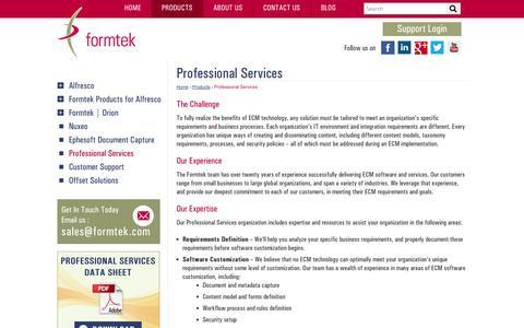 Screenshot of Services Page formtek.com - Professional Services for Enterprise Content Management (ECM) | formtek - captured Oct. 27, 2014