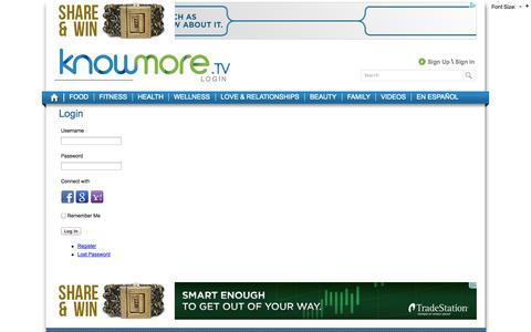 Screenshot of Login Page knowmore.tv - Login | KnowMoreTV - captured Sept. 23, 2014