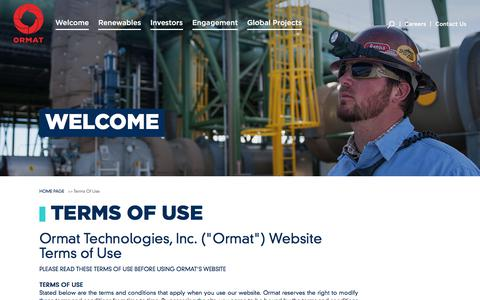 Screenshot of Terms Page ormat.com - Ormat Technologies Inc. - Terms of Use - captured Nov. 4, 2017
