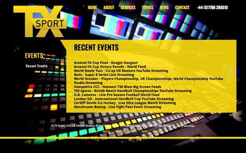 Screenshot of Case Studies Page txsport.co.uk - TX Sport :: Recent Events - captured Oct. 9, 2014