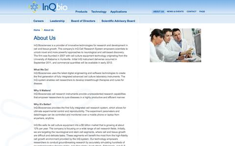 Screenshot of About Page inqbio.com - InQ Biosciences – About Us – Tissue growth – Cell culture equipment - captured Sept. 13, 2014