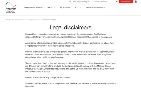 Corporate and Utilities : Legal and IP : Legal disclaimers | ResMed