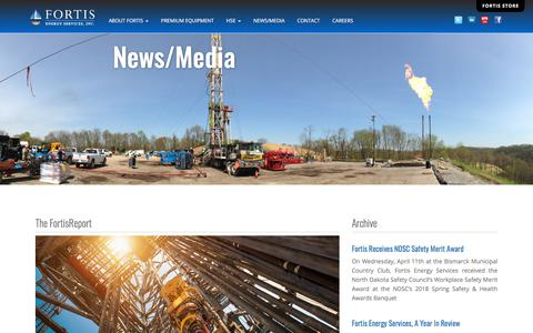 Screenshot of Press Page fortisenergyservices.com - Fortis Energy Services, Inc. | News - captured July 13, 2019
