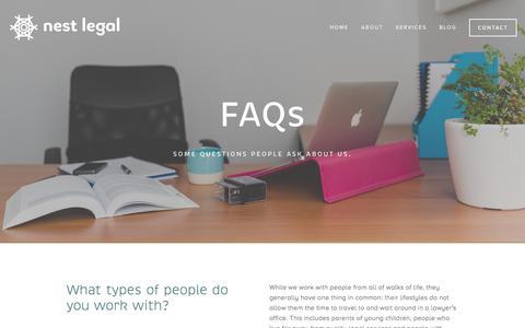 Screenshot of FAQ Page nestlegal.com.au - FAQs —  nest legal - captured Dec. 18, 2016