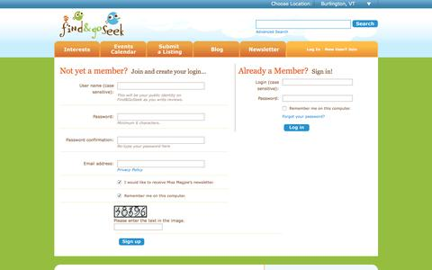 Screenshot of Login Page findandgoseek.net - Find and Go Seek - Your Local Insider Guide to Kid Friendly Fun - captured Sept. 22, 2018