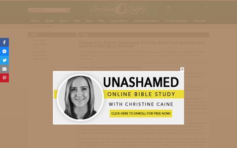 Screenshot of FAQ Page christiansupply.com - Help - Christian Supply - captured Sept. 28, 2018