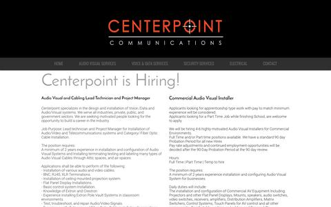 Screenshot of Jobs Page centerpointcommunications.com - OC Audio Visual | OC Cabling | OC Electrical | OC Voltage | ECO Lighting - captured May 15, 2017