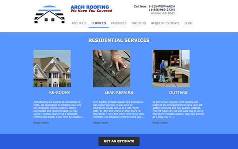 Screenshot of Services Page arch-roofing.com - Services - Arch Roofing - captured Sept. 30, 2014