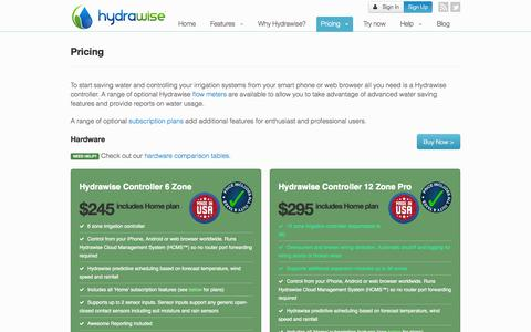 Screenshot of Pricing Page hydrawise.com - Pricing - HydraWise - captured Sept. 30, 2014