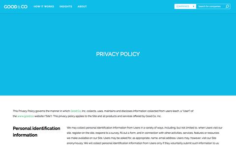 Screenshot of Privacy Page good.co - Privacy Policy | Good&Co | Personality & Work Culture Tests | Fun Quizzes - captured Dec. 15, 2016