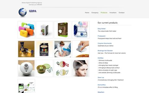 Screenshot of Products Page gdpa.us - Global Digital Publishing Agency - captured July 9, 2016