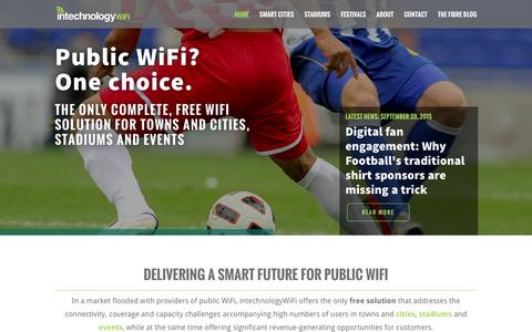Screenshot of Home Page intechnologywifi.com - Delivering a smart future for public WiFi   intechnologyWiFi - captured Feb. 11, 2016