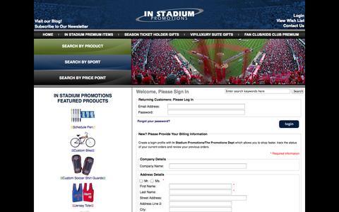 Screenshot of Login Page instadiumpromotions.com - Login : Sports Promotional Items, Team Promotions, Stadium Giveaways – In Stadium Promotions - captured Oct. 29, 2014