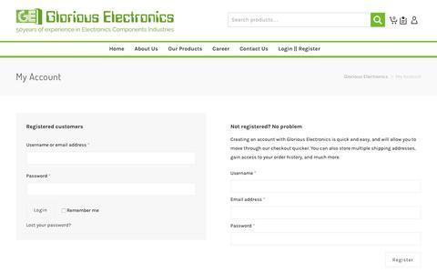 Screenshot of Signup Page Login Page gloriouselectronics.com - My Account | Glorious Electronics - captured July 15, 2018