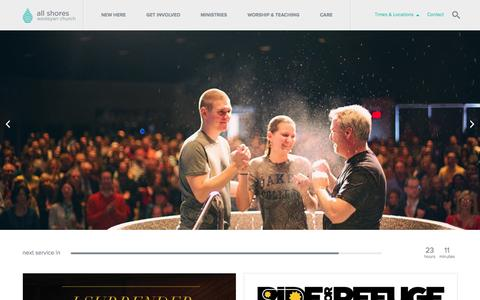 Screenshot of Home Page allshores.org - All Shores Wesleyan Church - captured Oct. 4, 2014