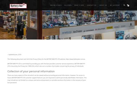 Screenshot of Privacy Page batterybar.com.au - Privacy | Battery Bar Adelaide - captured Dec. 9, 2018