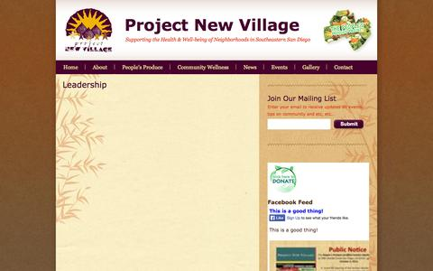 Screenshot of Team Page projectnewvillage.org - Leadership | Project New Village - captured Sept. 30, 2014