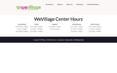 Screenshot of Hours Page wevillage.com - WeVillage Center Hours - captured Dec. 8, 2017