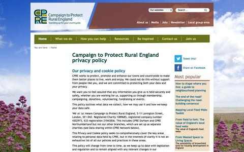 Screenshot of Privacy Page cpre.org.uk - Campaign to Protect Rural England privacy policy - Campaign to Protect Rural England - captured Sept. 26, 2018
